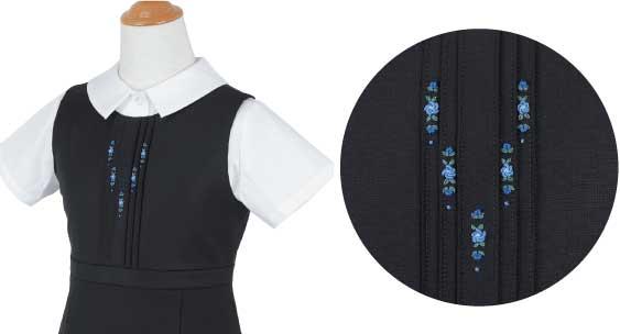 ジャンパースカート(ピンタック6本)への刺繍例