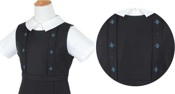 ジャンパースカート(ピンタック4本)への刺繍例
