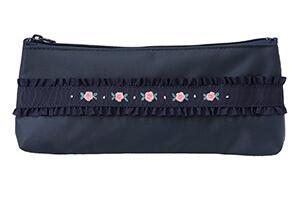 手刺繍ペンケース薔薇(ピンク)