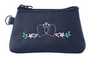 コインケース ハートフラワー濃紺×ピンク刺繍