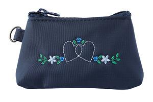コインケース ハートフラワー濃紺×ブルー刺繍